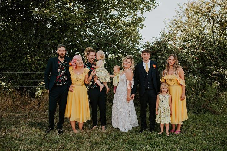 Wedding party with canary yellow bridesmaid dresses