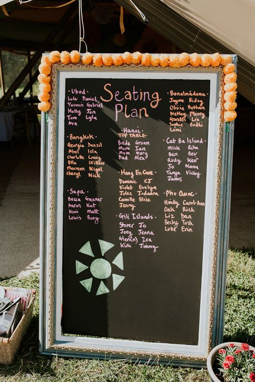 Chalkboard seating chart with bright decor