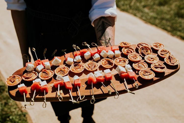 Wedding canapés at festival style celebration