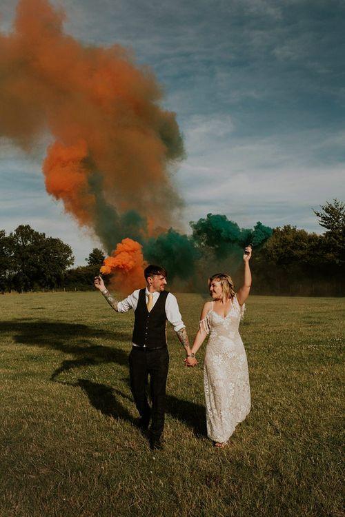 Bright smoke bomb wedding portraits