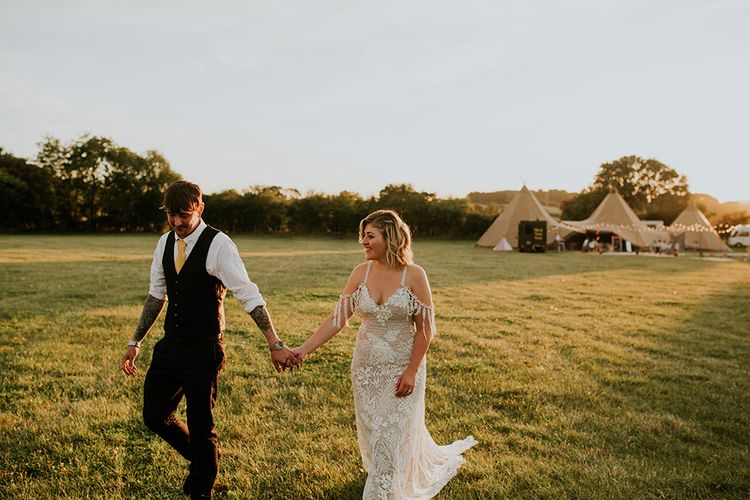 Grace Loves Lace Wedding Dress at farm wedding