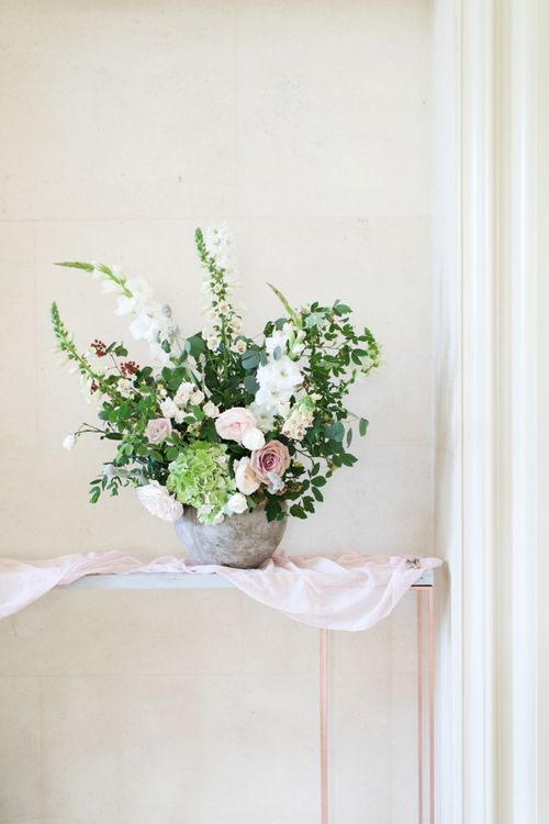 Green, White and Pink Wedding Flower Arrangement