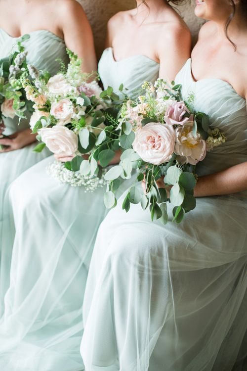 Bridesmaid in Pale Green Dresses with Pink and White  Bouquets