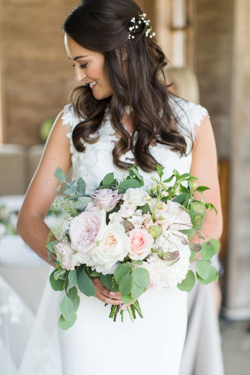Beautiful Bride with Blush Pink and White Wedding Bouquet