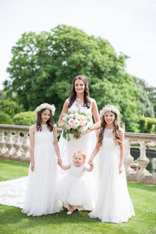 Bride and Flower Girls Wedding Picture