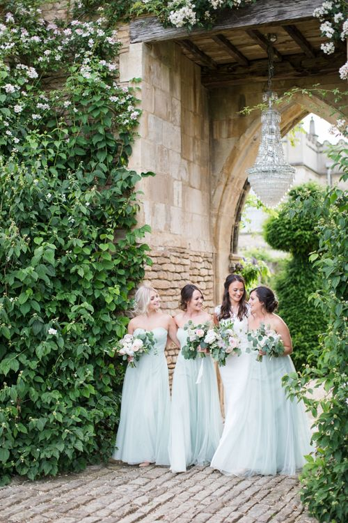 Bridal Party with Bridesmaids in Green Off The Shoulder  Dresses
