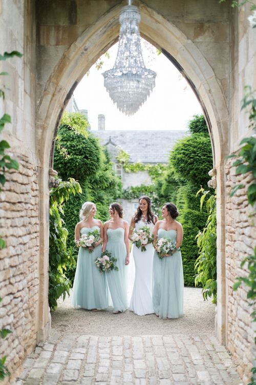 Bridesmaids in Pale Green Dresses at The Lost Orangery