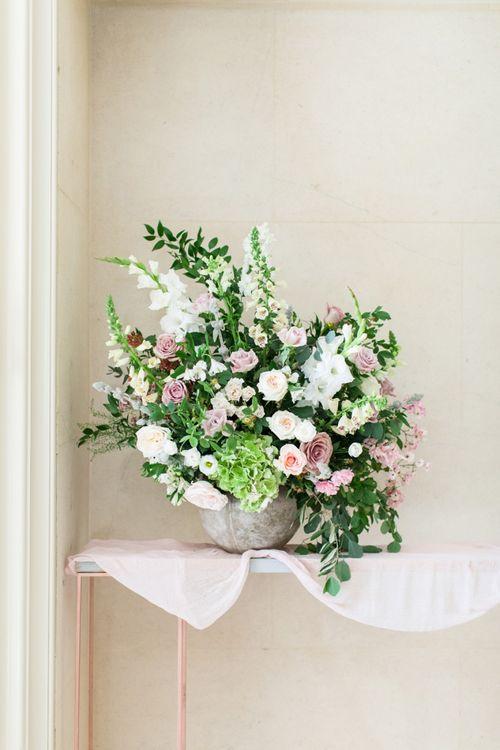 Pink, White and Green Wedding Flower Arrangement