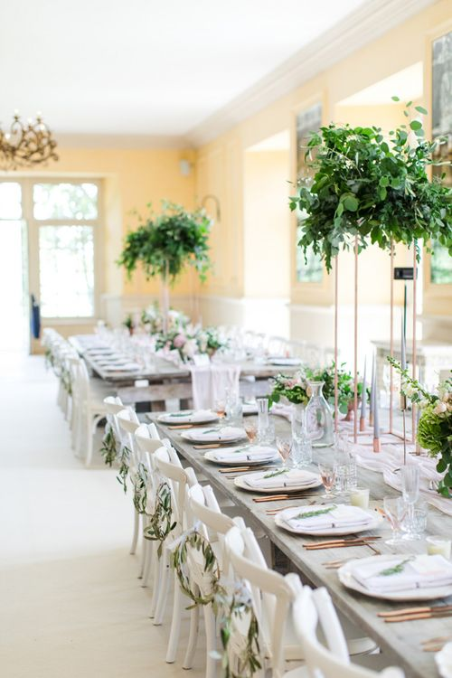 Wedding Table Decor with Greenery Hoops and Tall Floral Centrepieces
