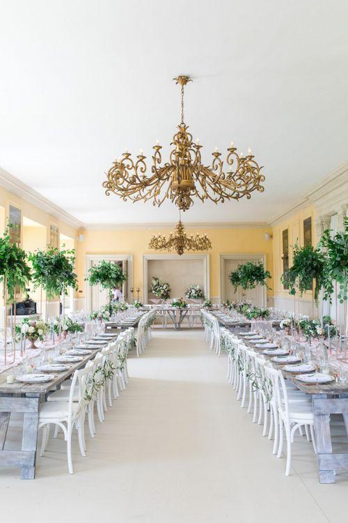 Elegant Gold and Green Wedding Reception Decor