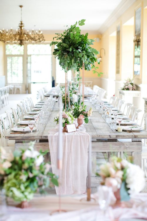 Pink Linen Table Runner with Copper Details