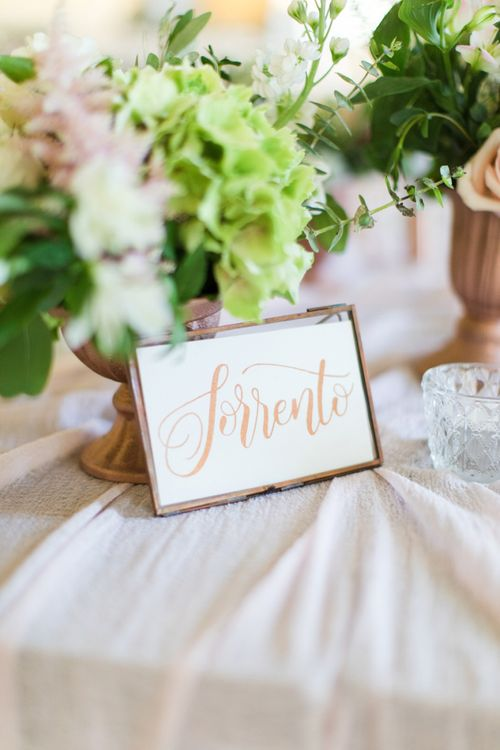 Copper Foil Table Name Wedding Stationery