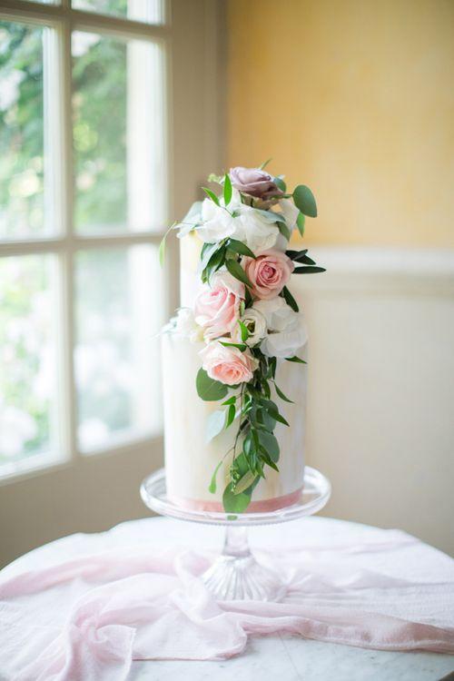Elegant Two Tier Wedding Cake with Cascading Flowers Decor