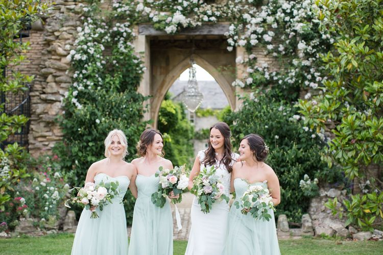 Bride and Bridesmaids in Pale Green Sweetheart Neckline Dress
