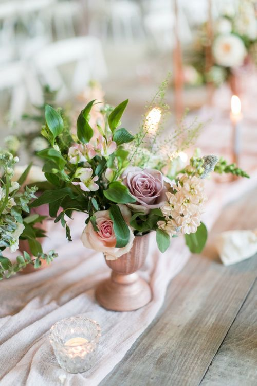 Romantic Blush Pink Flowers in Vessel
