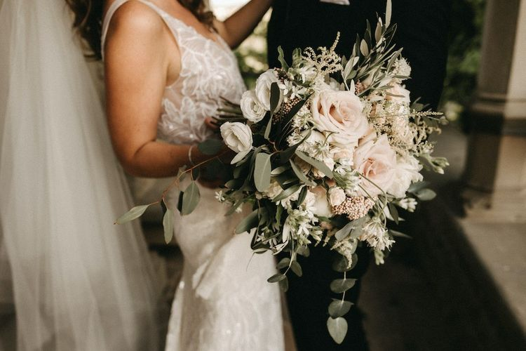 Blush wedding bouquet at Italian wedding