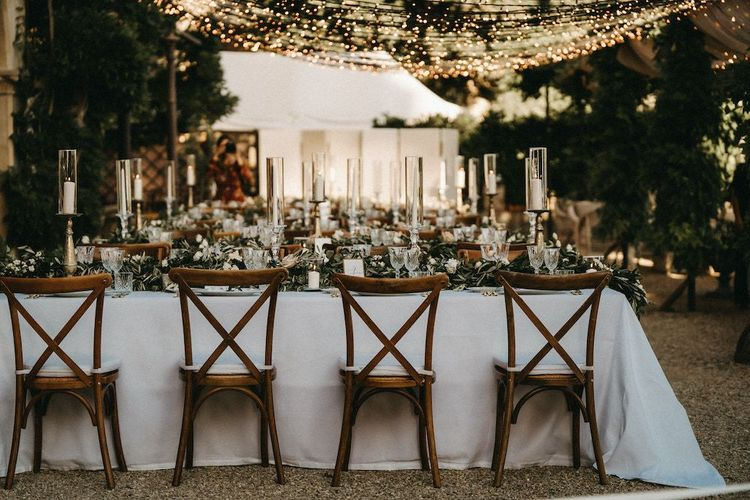 Villa Le Fontanelle wedding breakfast with fairy light canopy