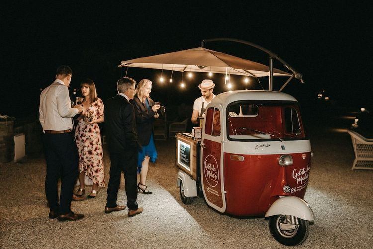 Gelato truck at Italian wedding
