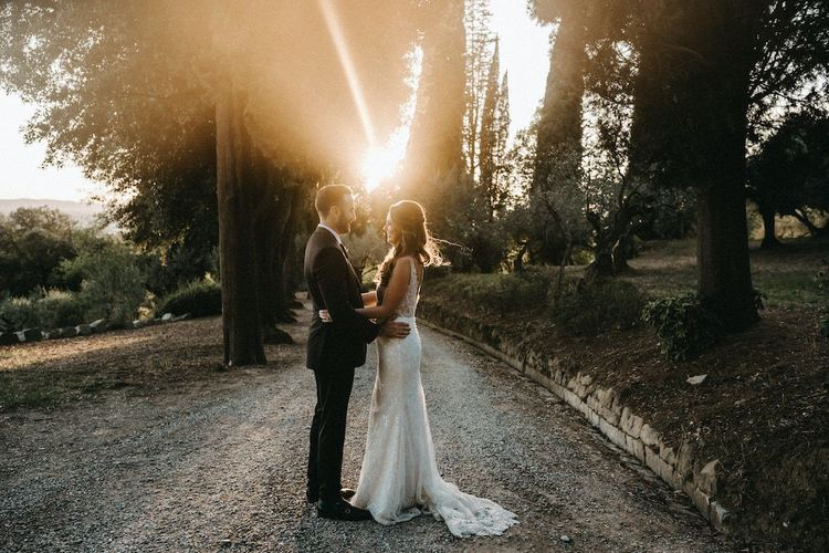 Sunset wedding portraits at Villa Le Fontanelle