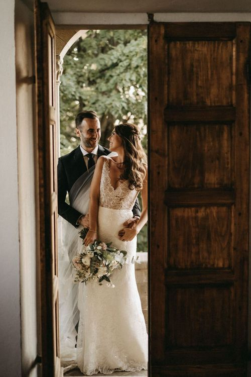 Bespoke lace wedding dress at Villa Le Fontanelle