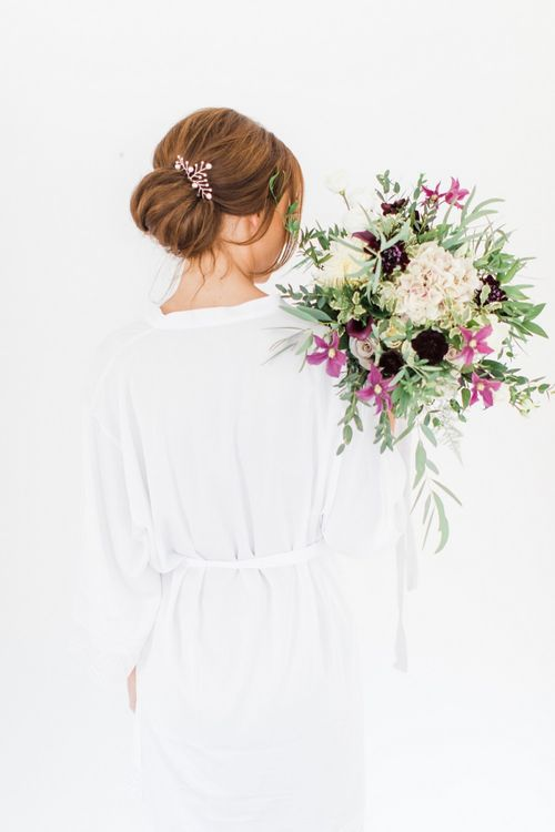 Bride with Hand Tied Bouquet of Hydrangeas, Dahlias, Menta Roses and Calla Lilies