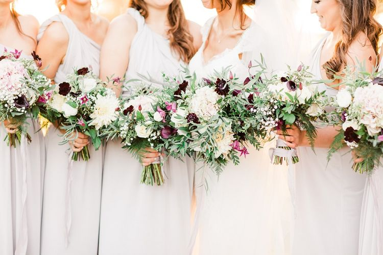 Bridal Party Bouquets with Hydrangeas, Dahlias, Menta Roses and Calla Lilies