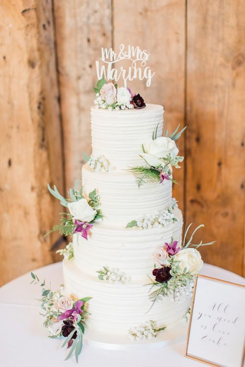 Four Tier Wedding Cake with Mr and Mrs Cake Topper