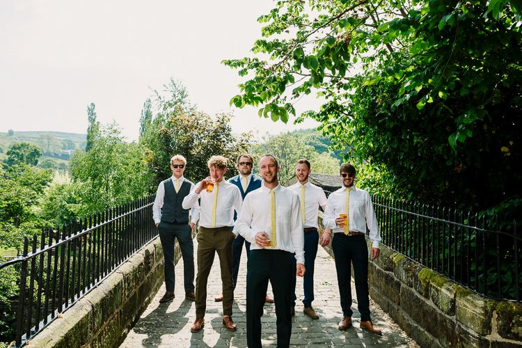 Groomsmen in Beggars Run Suits & Yellow Ties | DIY Tipi Wedding in Yorkshire | Tim Dunk Photography