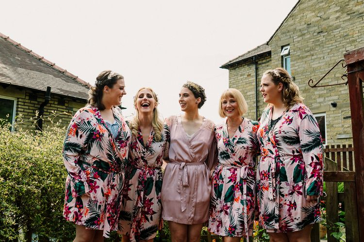 Bridal Party Matching Robes | DIY Tipi Wedding in Yorkshire | Tim Dunk Photography