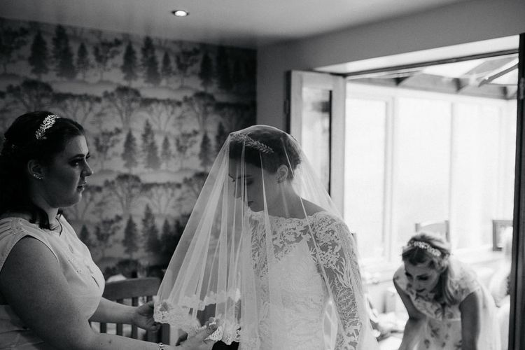 Bride Made Her Own Lace Wedding Dress & Veil - Kindling Bridal | DIY Tipi Wedding in Yorkshire | Tim Dunk Photography