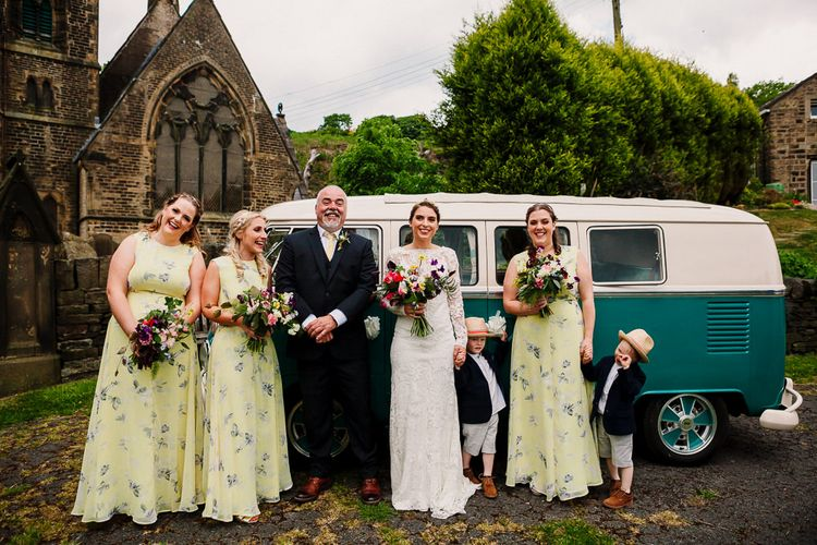 Bridal Party | Bridesmaids In Floral Yellow ASOS Dresses | Bride Made Her Own Bespoke Gown - Kindling Bridal | DIY Tipi Wedding in Yorkshire | Tim Dunk Photography