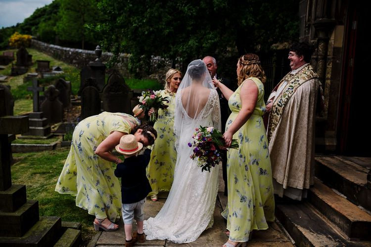 Church Bridal Entrance | Bridesmaids in Yellow Floral Dresses | Bride Made Her Own Bespoke Gown - Kindling Bridal | DIY Tipi Wedding in Yorkshire | Tim Dunk Photography