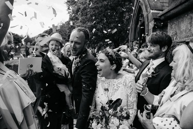 Confetti Moment | Bride Made Her Own Bespoke Gown - Kindling Bridal | Groom in Wool Beggars Run Suit | DIY Tipi Wedding in Yorkshire | Tim Dunk Photography