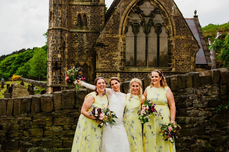Bridal Party | Bridesmaids in Floral Yellow Dresses | Bride Made Her Own Bespoke Gown - Kindling Bridal | | DIY Tipi Wedding in Yorkshire | Tim Dunk Photography