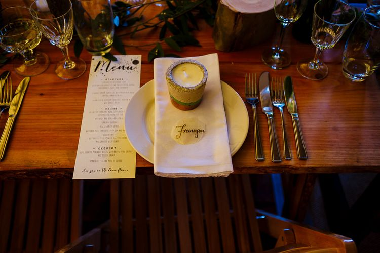 Place Setting with Candle Wedding Favour | DIY Tipi Wedding in Yorkshire | Tim Dunk Photography