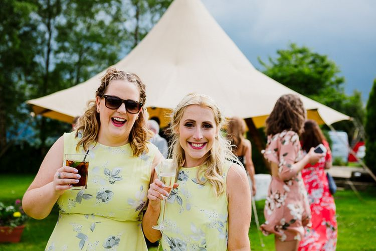 Bridesmaids in Yellow Floral Dresses | DIY Tipi Wedding in Yorkshire | Tim Dunk Photography