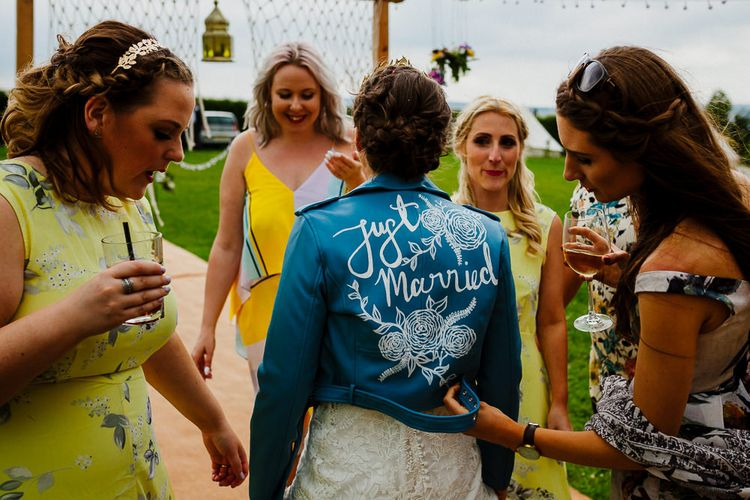 Just Married Blue Leather Bridal Jacket | DIY Tipi Wedding in Yorkshire | Tim Dunk Photography