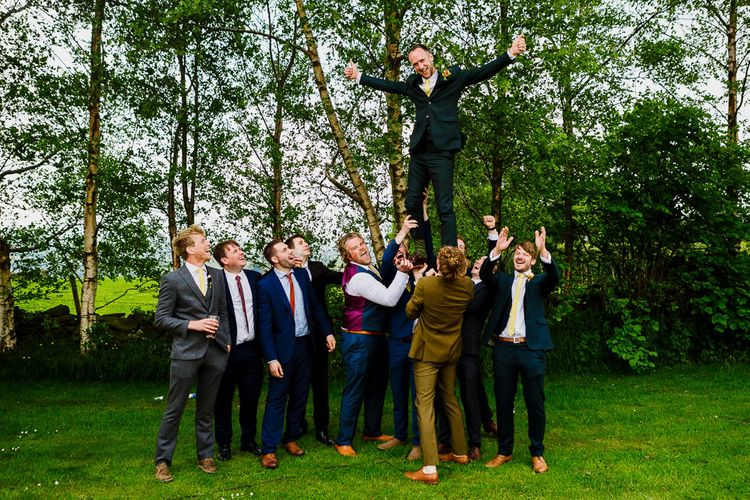 Groomsmen in Wool Beggars Run Suits | DIY Tipi Wedding in Yorkshire | Tim Dunk Photography