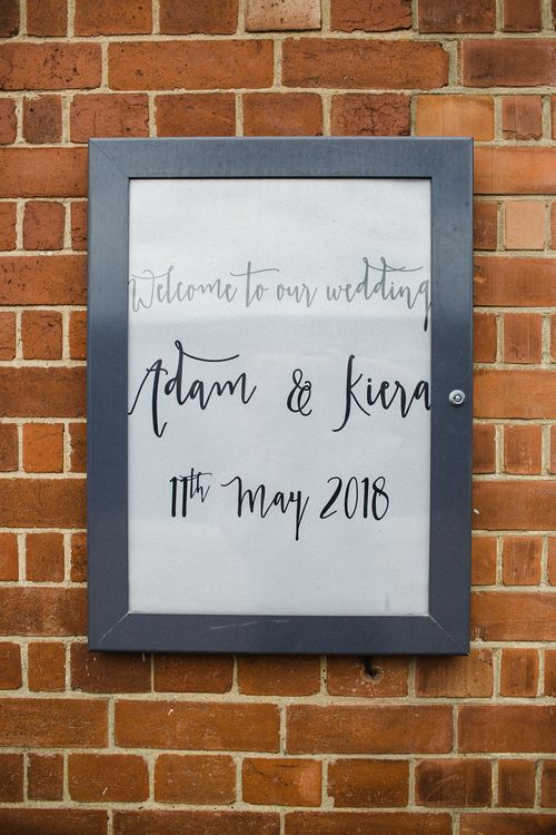 Wedding Sign in a Grey Frame | The Electricians Shed, Trinity Buoy Wharf Wedding Planned by Utterly Wow | Claudia Rose Photography
