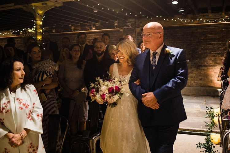 Wedding Ceremony | Bridal Entrance in Ted Baker Wedding Dress | The Electricians Shed, Trinity Buoy Wharf Wedding Planned by Utterly Wow | Claudia Rose Photography