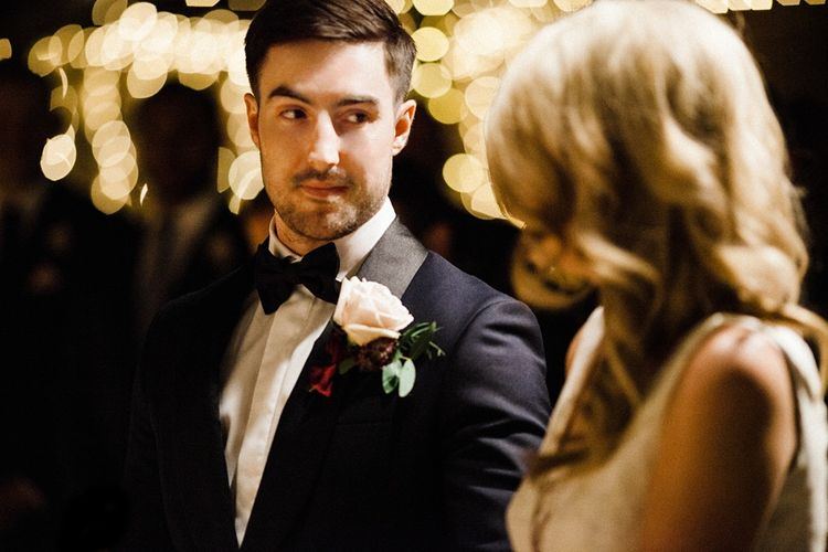 Wedding Ceremony | Bride in Ted Baker Wedding Dress | Groom in Tuxedo | The Electricians Shed, Trinity Buoy Wharf Wedding Planned by Utterly Wow | Claudia Rose Photography