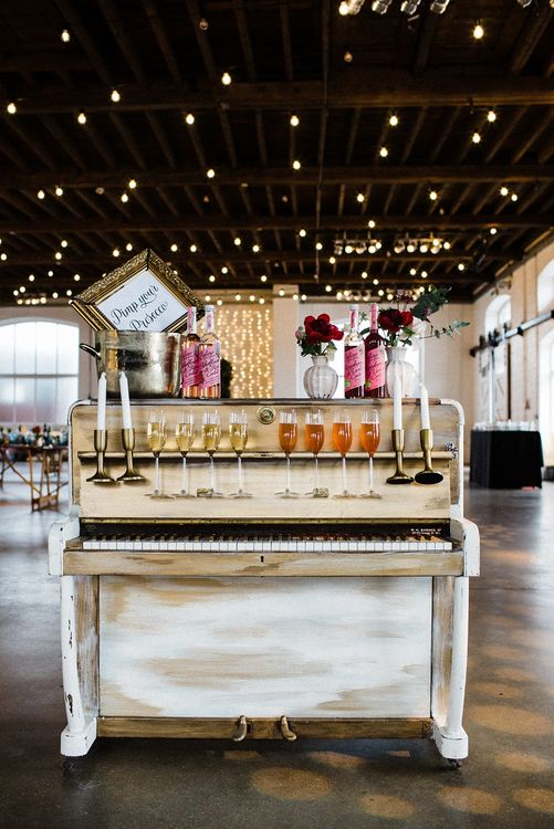 Pimp Your Prosecco Piano Bar | The Electricians Shed, Trinity Buoy Wharf Wedding Planned by Utterly Wow | Claudia Rose Photography