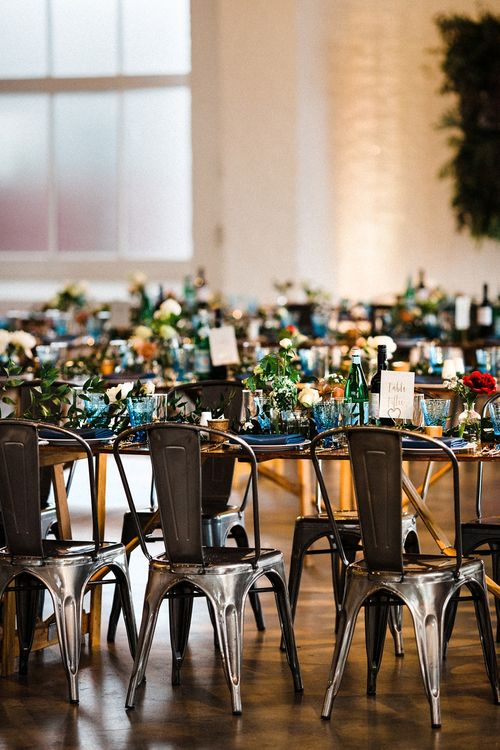Industrial Table Scape & Metal Tolix Chairs | The Electricians Shed, Trinity Buoy Wharf Wedding Planned by Utterly Wow | Claudia Rose Photography