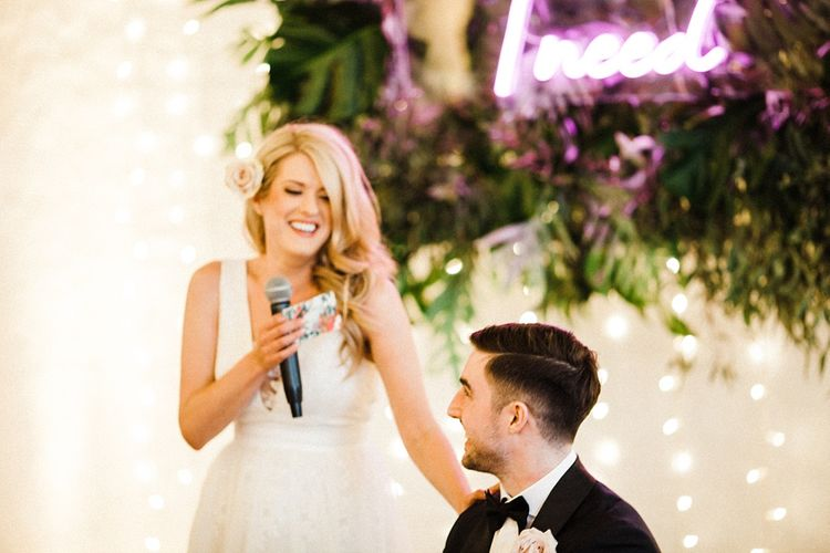 Wedding Reception Speeches | Bride in Ted Baker Wedding Dress | Groom in Tuxedo | The Electricians Shed, Trinity Buoy Wharf Wedding Planned by Utterly Wow | Claudia Rose Photography