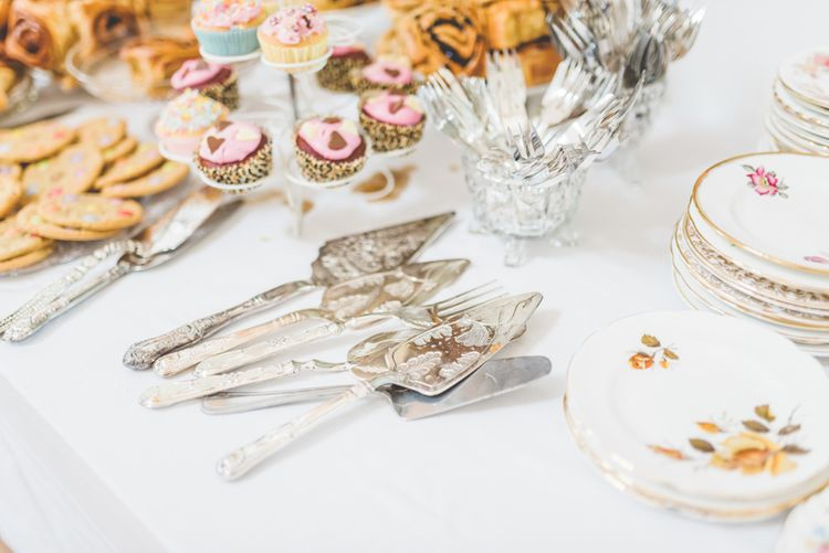 Vintage china with fun homemade treats at  village fete themed celebration