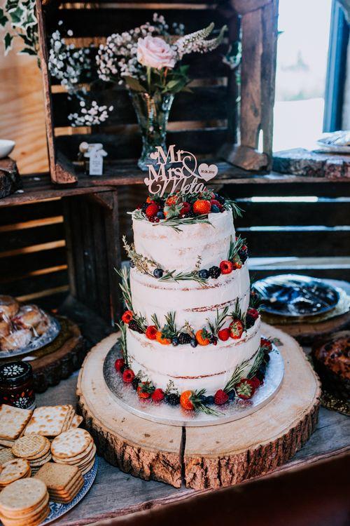 Semi Naked Buttercream Wedding Cake / Sally Rawlins Photography
