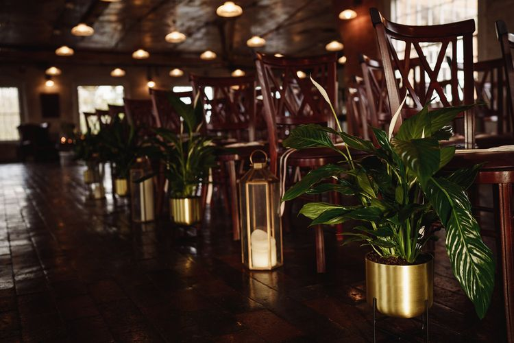 Gold Potted Plants and Hurricane Lamps Aisle Wedding Decor