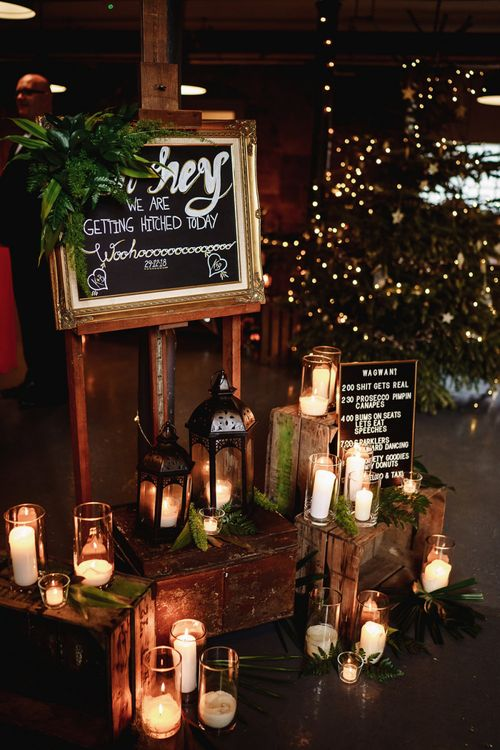 Gold Framed Wedding Sign with Wooden Crates and Candles Decor
