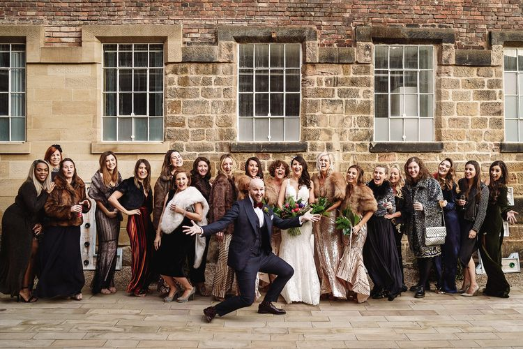 Groom in Tom Ford Suit Photo Bombing The Brides Picture with Her Best Girls
