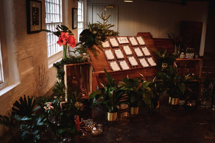 Table Plan with Potted Tropical Plants Wedding Decor